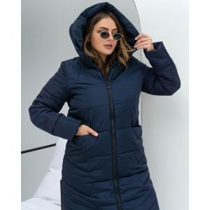 Женская зимняя куртка удлиненная 000117-1 размеры 48-62 цвет синий
