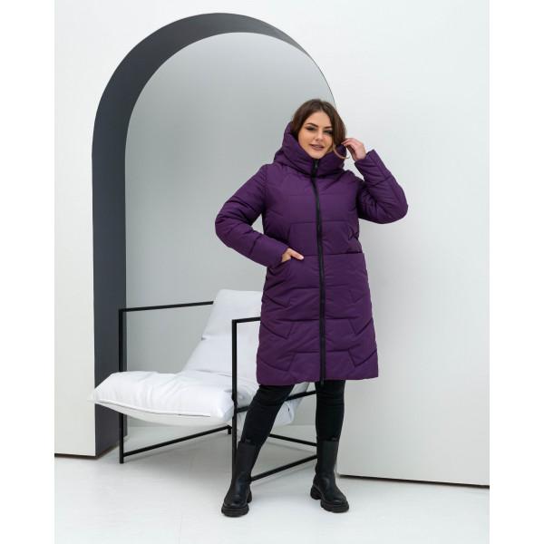 Женская зимняя куртка удлиненная 000117-3 размеры 48-62 цвет сиреневый