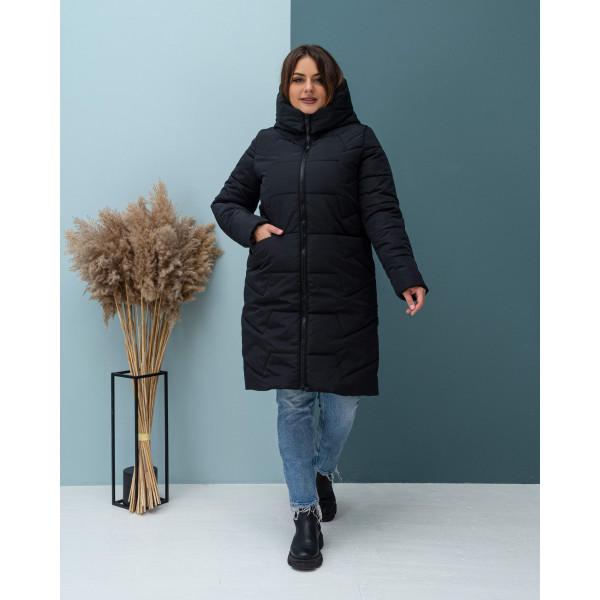 Женская зимняя куртка удлиненная 000117-2 размеры 48-62 цвет черный