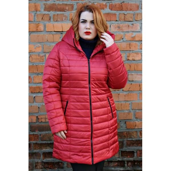 Женская куртка зимняя 00019-2 размеры 44-54цвет красный