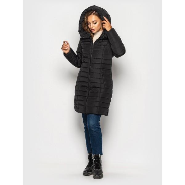 Женская куртка  зимняя 00019-1 размеры 44-62 цвет черный