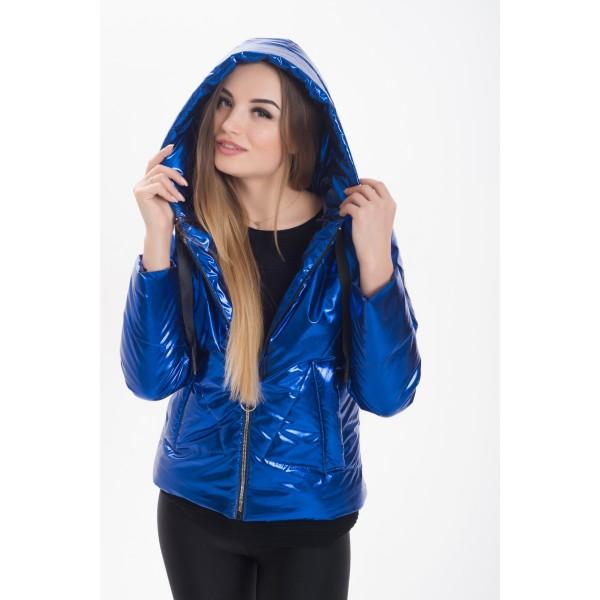 Женская серебристая куртка 000191-3 размер 42-52 цвет электрик