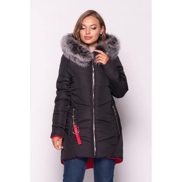Женская куртка зимняя 000318-3 размеры 44-54 цвет черный