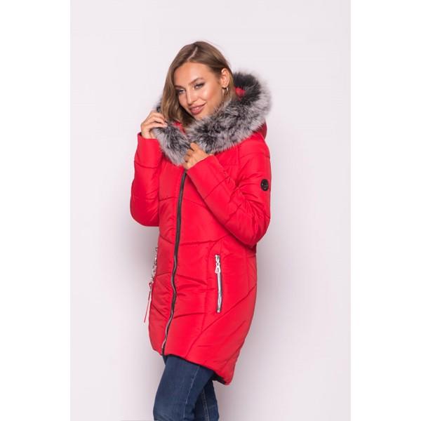Женская куртка зимняя 000318-1 размеры 44-54 цвет красный
