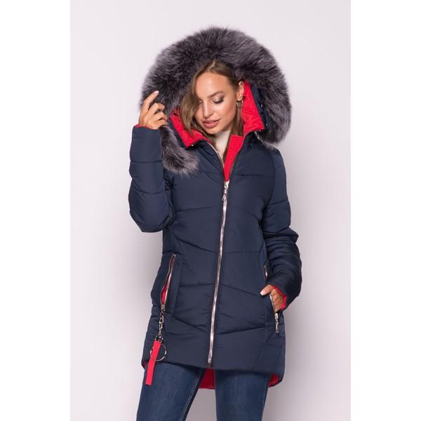 Женская куртка зимняя 000318-4 размеры 44-54 цвет темно синий