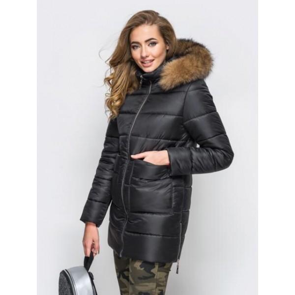 Женская  куртка зимняя 00039-5 размеры 42-52 цвет черный