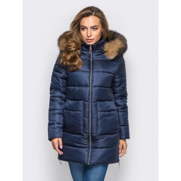 Женская  куртка зимняя 00039-4 размеры 42-52 цвет темно синий