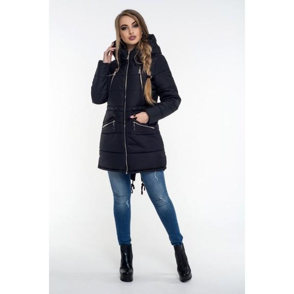 Женская куртка  зимняя 00049-2 размеры 42-52 цвет черный