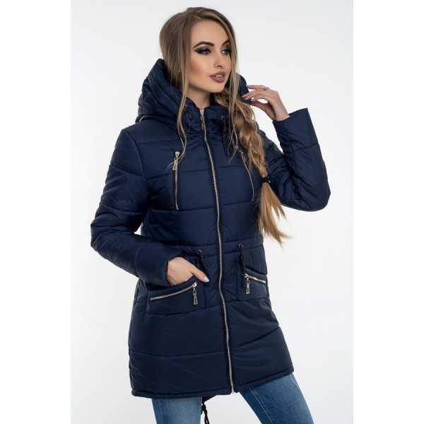 Женская куртка  зимняя 00049-1 размеры 42-52 цвет темно синий