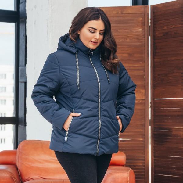 Женская куртка 000563-1 размеры 60-64 цвет темно синий