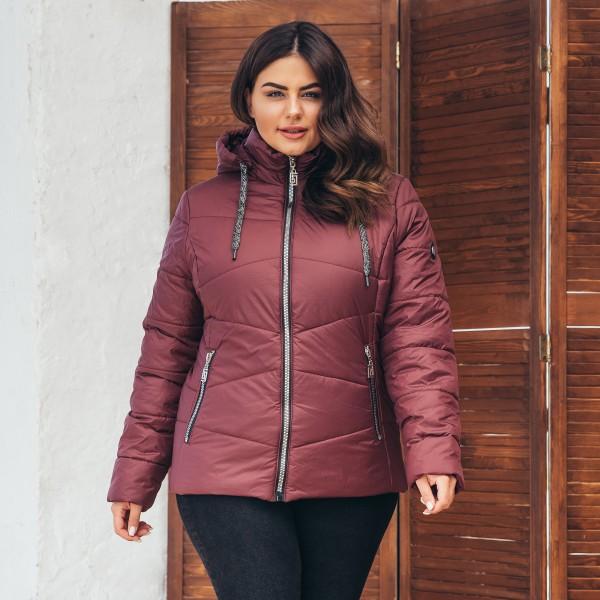 Женская куртка 000563-2 размеры  52-64 цвет бордовый