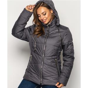 Женская куртка 000563-4 размеры 50-64 цвет темно серый