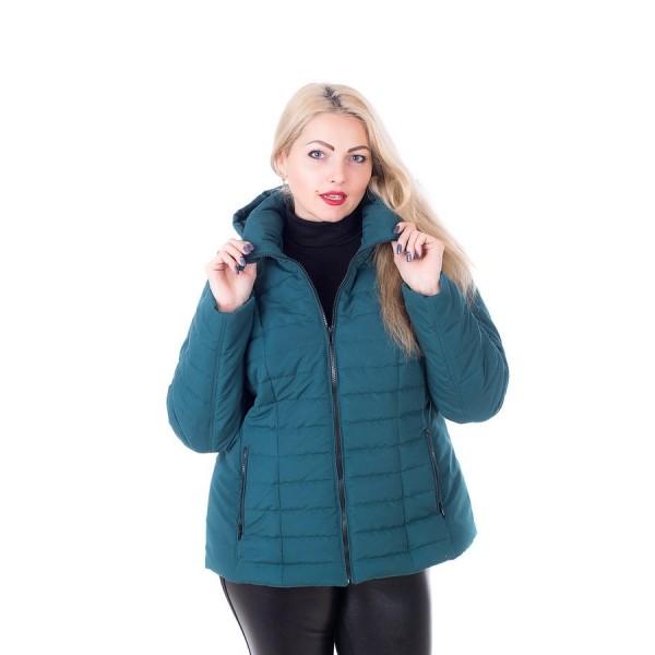 Женская куртка 00061-5 размеры 56,58 цвет зеленый