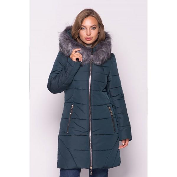 Женская  куртка зимняя 00077-3 размеры 50-60 цвет зеленый
