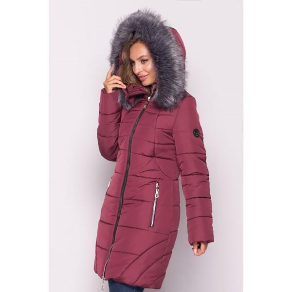 Женская  куртка зимняя 00077-4 размеры 50-60 цвет бордовый