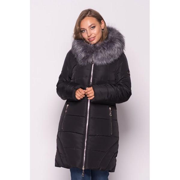 Женская  куртка зимняя 00077-1 размеры 44, 50-60 цвет черный