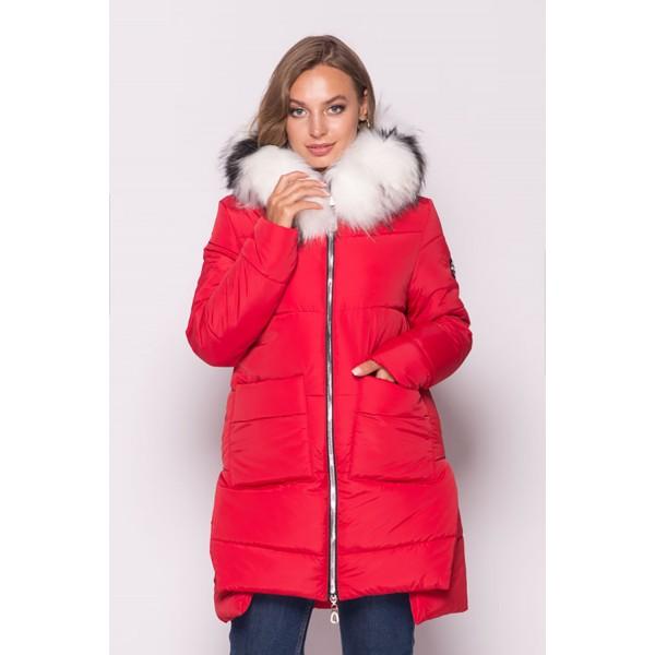 Женская куртка зимняя 00079-1 размеры 44-54 цвет красный