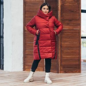 Женская зимняя куртка удлиненная 00071-1 размеры 48-64 цвет кирпичный