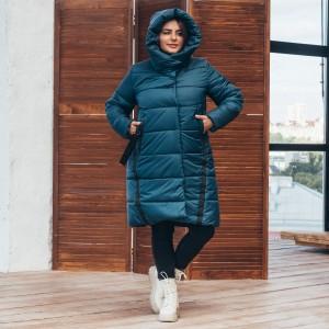 Женская зимняя куртка удлиненная 00071-2 размеры 48-64 цвет изумруд
