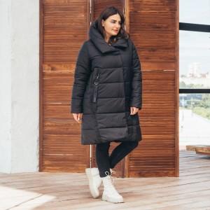 Женская зимняя куртка удлиненная 00071-3 размеры 48-64 цвет черный