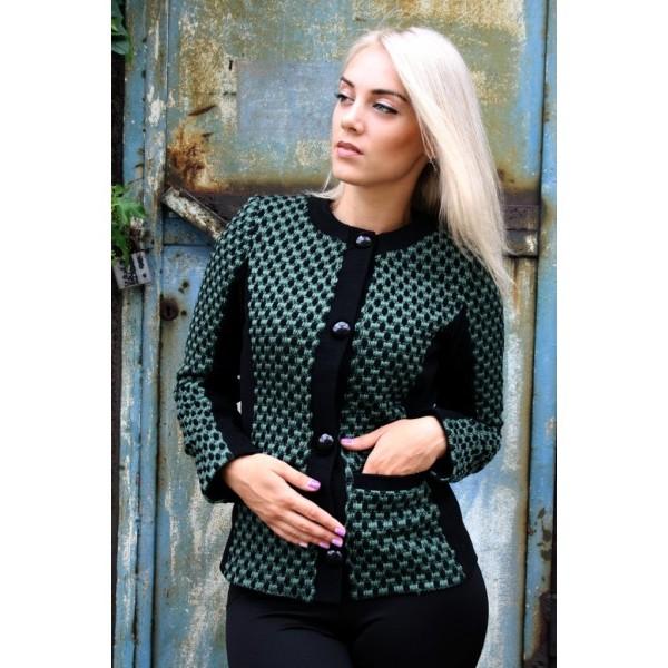 Пиджак кашемировый Планка размер 42 цвет черный с зеленым
