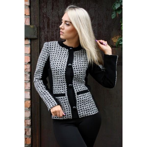 Пиджак кашемировый Планка размер 42-44 цвет черный с белым