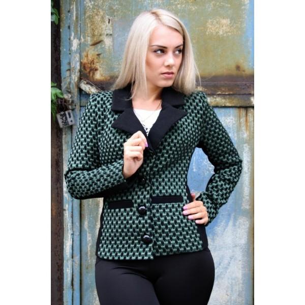 Пиджак кашемировый Английский Воротник размер 42,44 цвет черный с зеленым